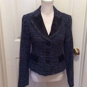 Nanette Lenore Blazer 6 Blue Tweed Faux Pockets